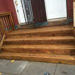 Washington, DC residential wood front porch powerwash prep for painting